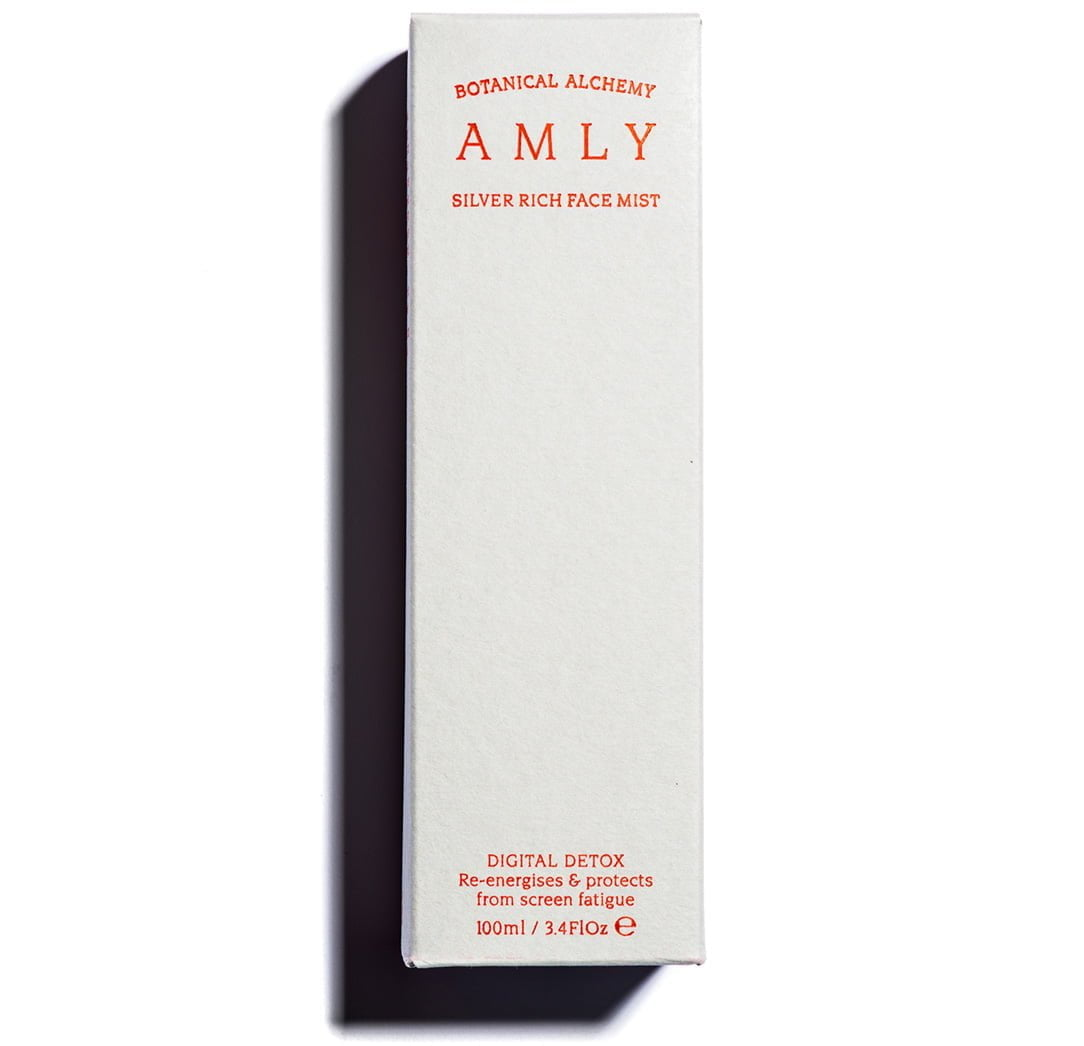 AMLY silver rich digital detox face mist to re-energise and protect from screen fatigue - box