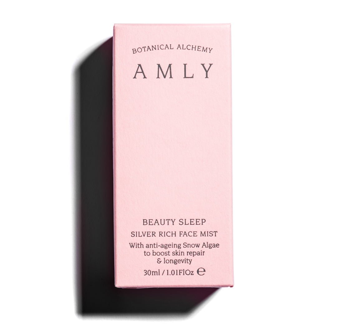30ml pink box - AMLY beauty sleep silver rich face mist with anti-ageing snow algae - vegan, contains natural ingredients. 30ml box