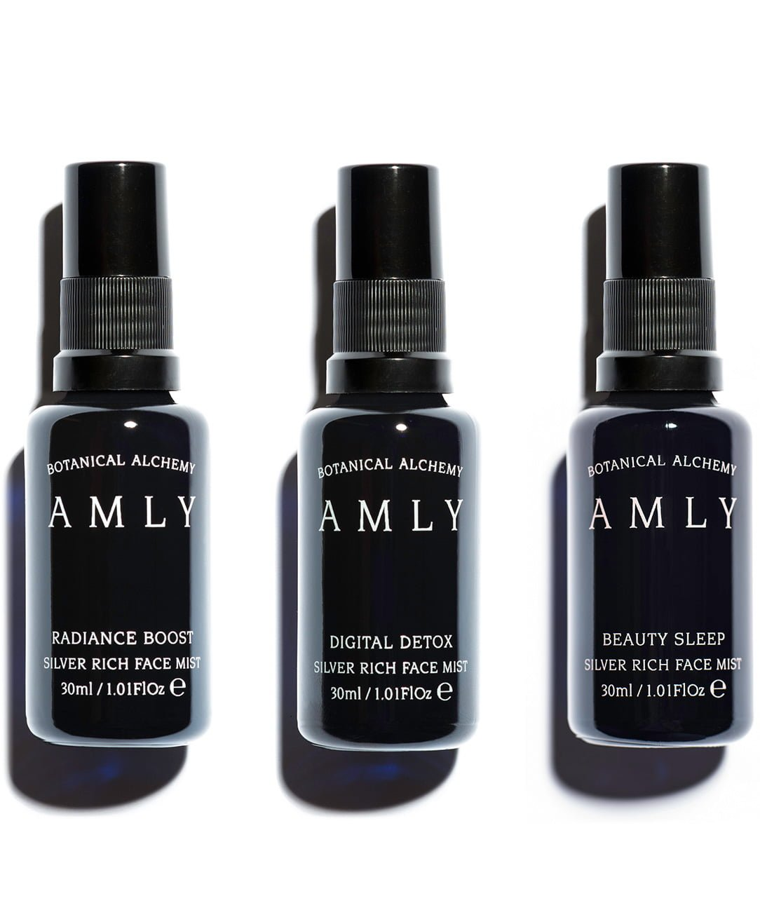 AMLY 30ml radiance boost face mist, AMLY 30ml Digital Detox face mist, AMLY 30ml beauty sleep face mist