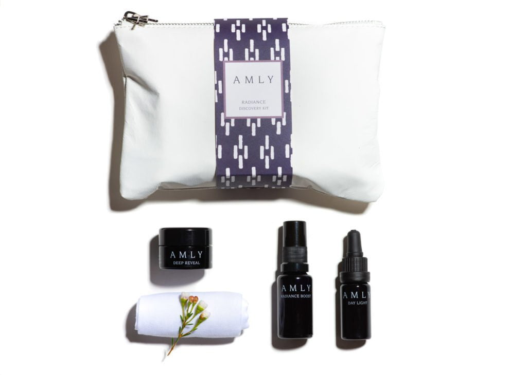 AMLY Radiance Discovery Kit - with day light face oil, radiance boost face mist, deep reveal nourishing face cream, and muslin cloth