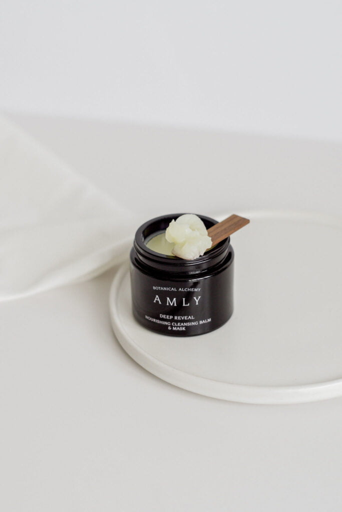 AMLY Deep Reveal cleansing face balm with walnut spatula