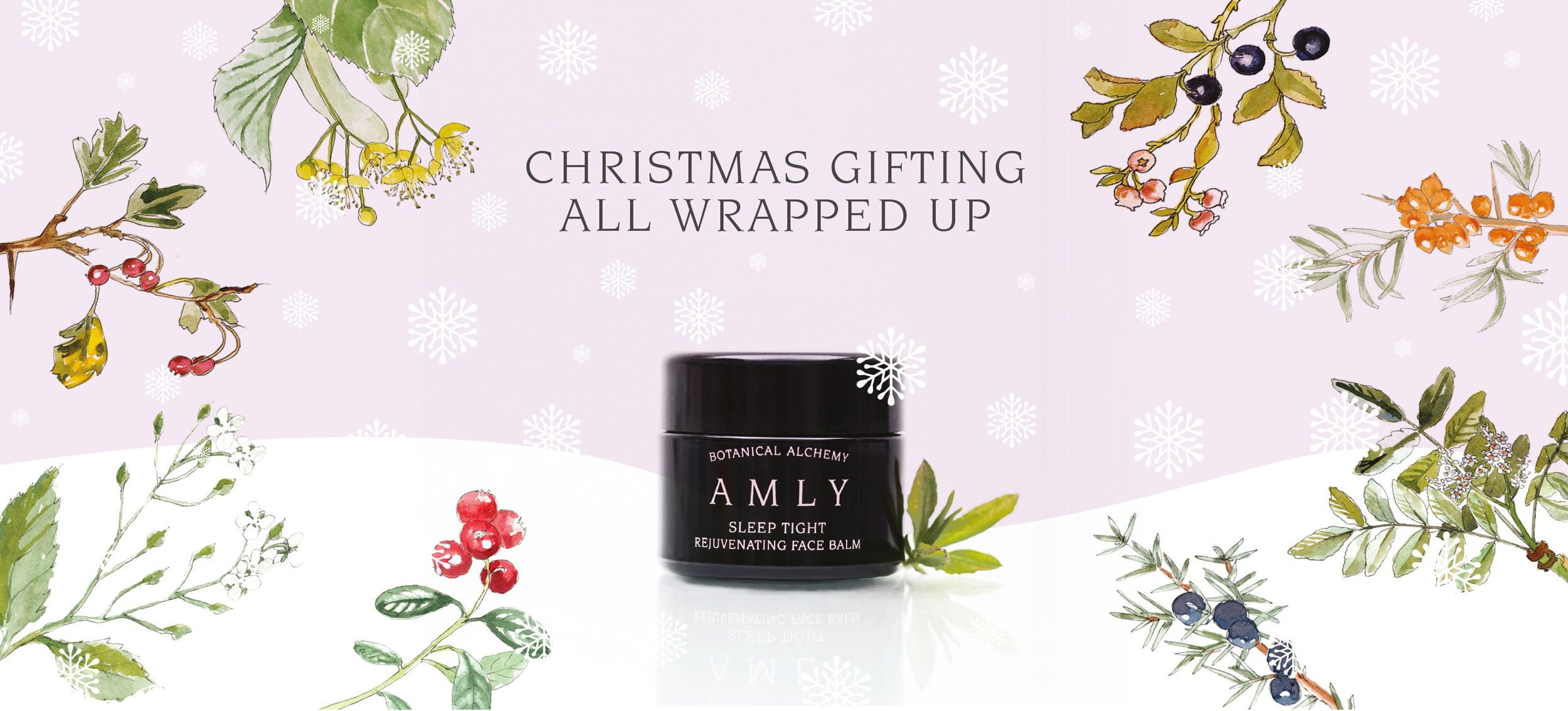 AMLY Botanicals Christmas poster with sleep tight revuneating face balm and wild flower illustrations landscape