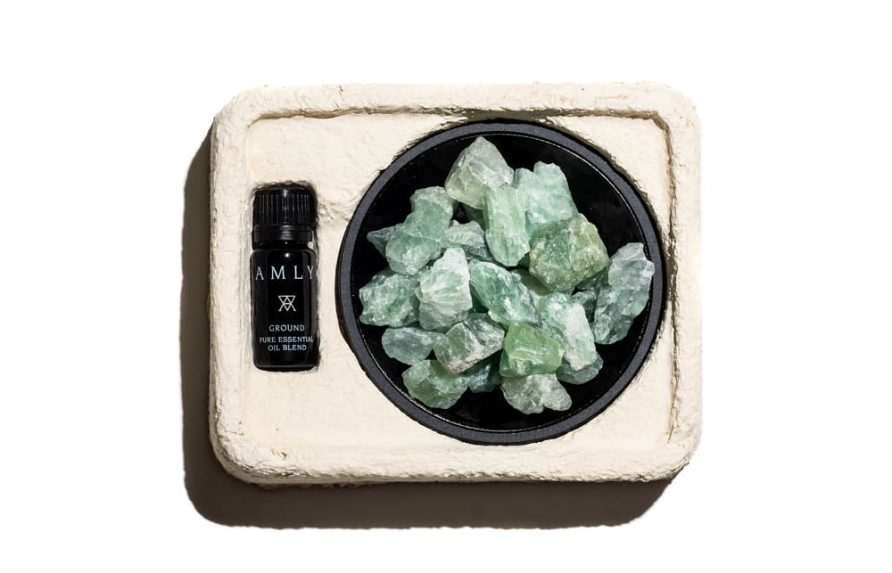 GROUND oil room + fluorite fragrance set compostable box